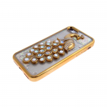 Силиконовый чехол Iphone 6/6S Best Quality с жидкими блестками, жар-птица с камнями, белая