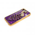 Силиконовый чехол Iphone 6/6S Best Quality с жидкими блестками, жар-птица с камнями, фиолетовая
