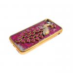Силиконовый чехол Iphone 6/6S Best Quality с жидкими блестками, жар-птица с камнями, малиновая