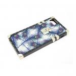 Силиконовый чехол Iphone 6/6S с декоративным замочком, перья с блестками синие