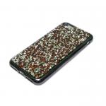 Силиконовый чехол Iphone 6/6S с поверхностью из камней и страз, серая окантовка, бордовый