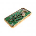 Силиконовый чехол Iphone 6/6S Best Quality с жидкими блестками, жар-птица с камнями, зеленая