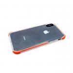 Силиконовый чехол Iphone 7/8 противоударный, прозрачный с ободком, оранжевый
