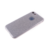 Силиконовый чехол Huawei Y5 2017 плотный с блестками, вырез для лого, серебро