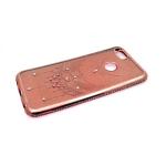 Силиконовый чехол Samsung J310 Galaxy J3 2016 с блестящей наклейкой, розовое-золото