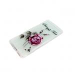 Силиконовый чехол Xiaomi Redmi 5a прозрачный с цветочками, роза малиновая