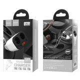 Разветвитель прикуривателя HOCO, Z28, на 2 прикуривателя, 2 USB выхода, цвет: белый