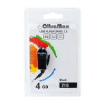 Флеш-накопитель 4Gb OltraMax 210, USB 2.0, пластик, чёрный