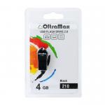 Флеш-накопитель 4Gb OltraMax 210, USB 2.0, пластик, чёрный