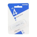 Флеш-накопитель 4Gb SmartBuy LM05, USB 2.0, пластик, белый