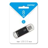 Флеш-накопитель 8Gb SmartBuy V-Cut, USB 2.0, пластик, чёрный