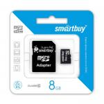 Карта памяти MicroSD  8GB  Smart Buy Class 10 + SD адаптер