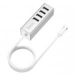 USB-концентратор HOCO HB1, 4 USB выхода, кабель Type-C, цвет: серебряный