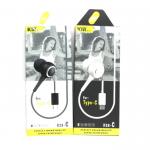 Наушники KIN K28-С с разъемом TYPE-C, вакуумные с микрофоном, белые