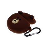 Силиконовый чехол для Air Pods 1/2 твёрдый силикон с карабином, медведь