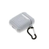 Силиконовый чехол для футляра от Air Pods 1/2 рефленный с карабином, серый