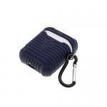 Силиконовый чехол для футляра от Air Pods 1/2 рефленный с карабином, темно-синий