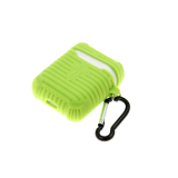 Силиконовый чехол для футляра от Air Pods 1/2 рефленный с карабином, зеленый
