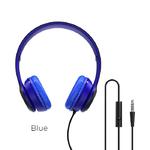 Наушники полноразмерные Borofone BO5, Star sound, микрофон, кабель 1.2м, цвет: синий
