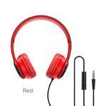 Наушники полноразмерные Borofone BO5, Star sound, микрофон, кабель 1.2м, цвет: красный