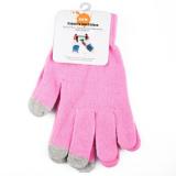 Перчатки для сенсорных экранов светло-розовые
