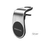Держатель автомобильный Borofone, BH10, для смартфона, металл, воздуховод, магнит, серебряный