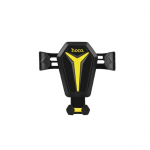 Держатель автомобильный HOCO, CA22, Kingcrab, пластик, воздуховод, цвет: чёрный, жёлтая вставка
