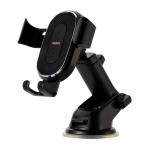 Держатель автомобильный Remax, RM-C37, для смартфона, торпедо, шарнир, зарядка Qi, чёрный