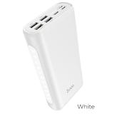 Аккумулятор внешний HOCO J60, Snowflake, 30000mAh, 4 USB, Type-C, микроUSB, 8 pin, лампа, 2.0A, бел